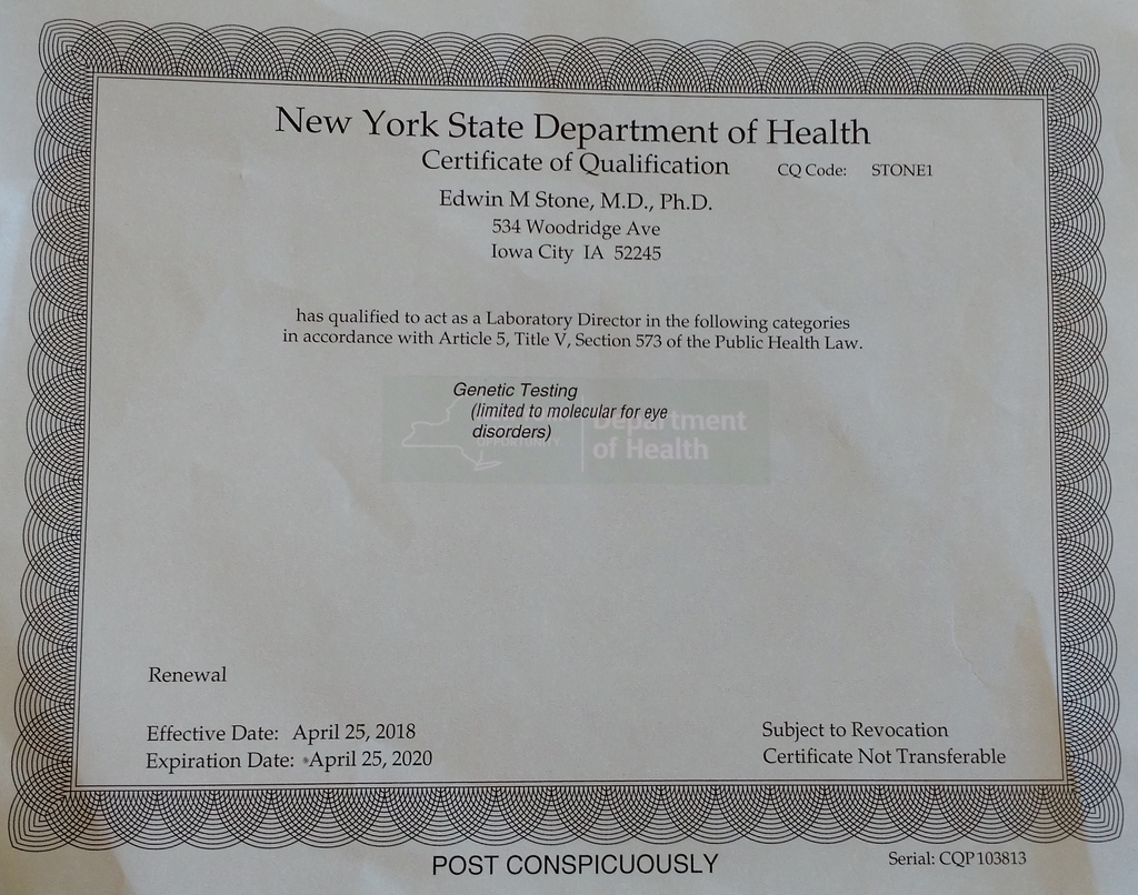New York State Certificate 2018 - 2020
